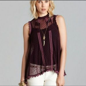 Free People Fiona's Victorian Lace/Mesh Top S